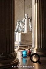 Visitors spend a quiet moment at the Lincoln Memorial, Washington, D.C.